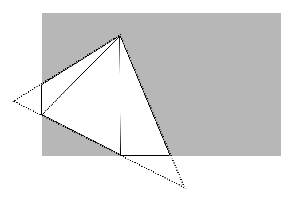 An illustration of a triangle being clipped