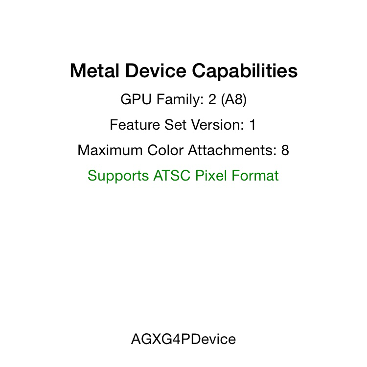 The capabilities reported by an A8 device (iPhone 6)