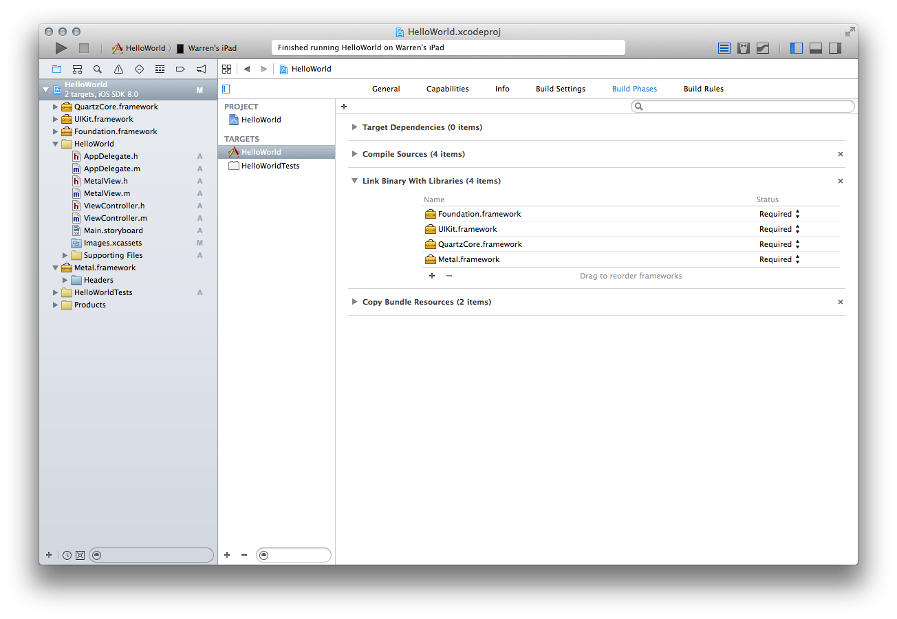 Adding linked frameworks in Xcode