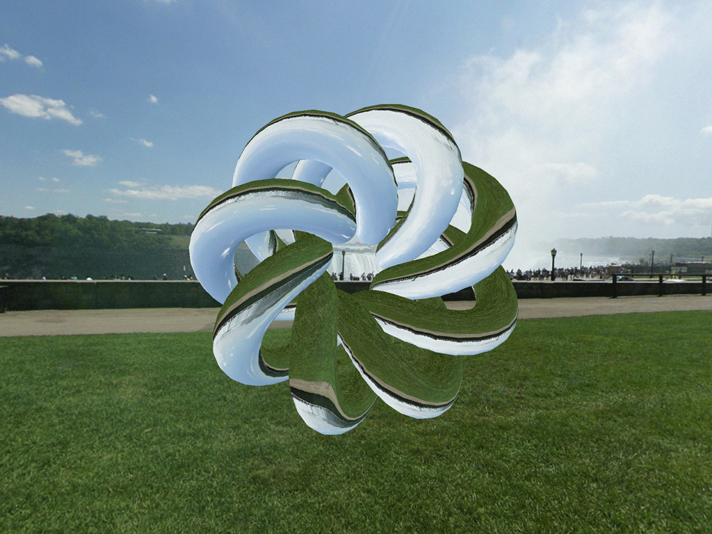 The environment map refracted through a torus knot