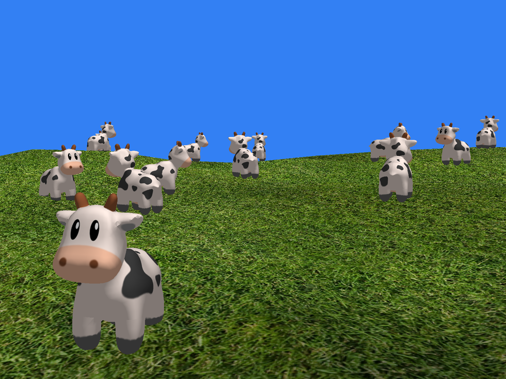 Dozens of animated characters can be drawn efficiently with instanced rendering.