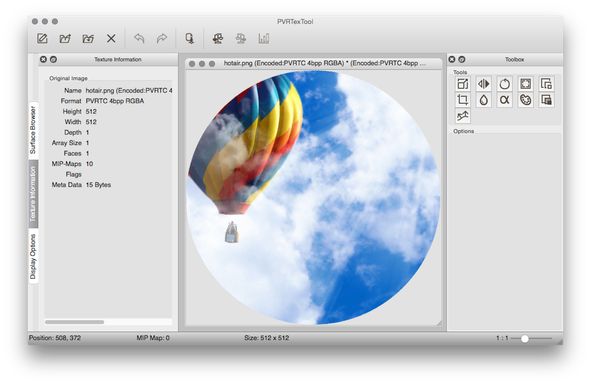 The PVRTexToolGUI from Imagination Technologies allows the user to compress images in a variety of formats