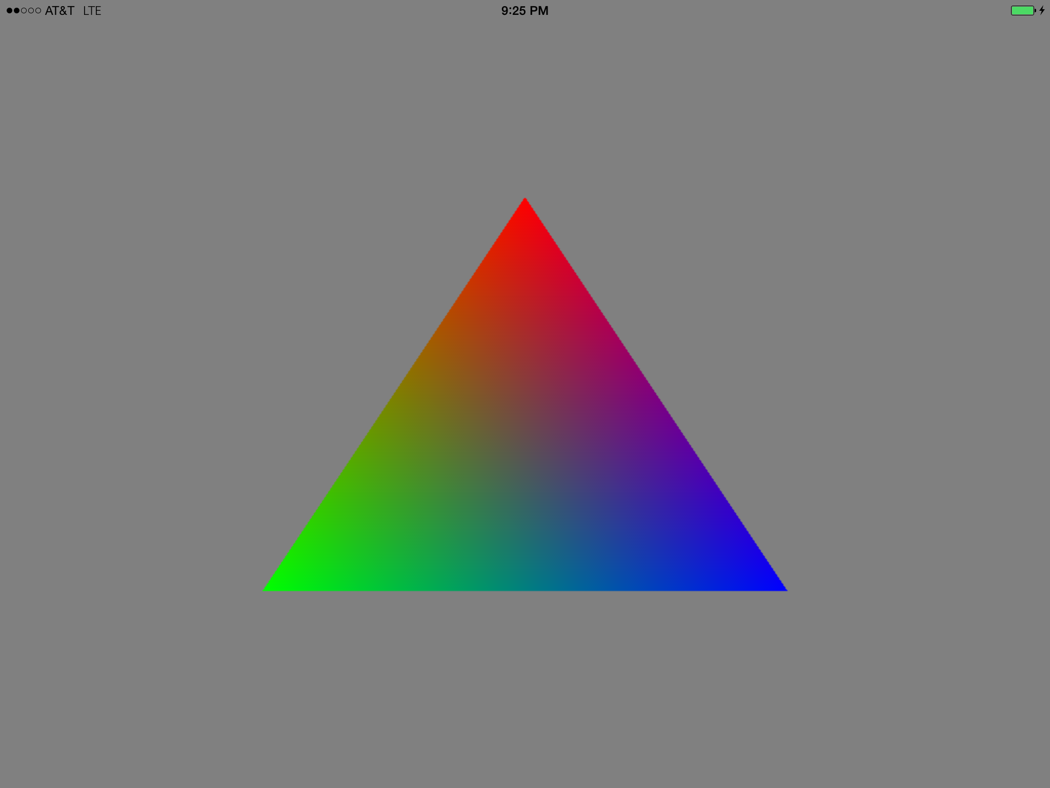 A multicolored triangle, rendered by Metal